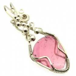 Pink Tourmaline Sterling Silver Wire Wrapped Pendant 01
