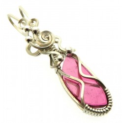 Pink Tourmaline Sterling Silver Wire Wrapped Pendant 02