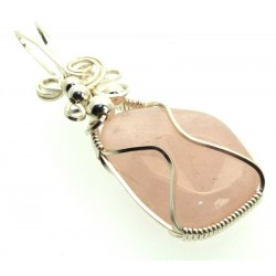 Rose Quartz Gemstone Silver Plated Wire Wrapped Pendant 08
