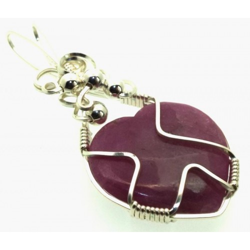 Lucky Dip Ruby in Quartz Heart Silver Plated Wire Wrapped Pendant