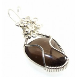 Smoky Quartz Silver Filled Wire Wrapped Pendant 02