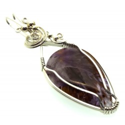 Super 7 Gemstone Sterling Silver Wire Wrapped Pendant 12