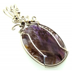 Super 7 Gemstone Sterling Silver Wire Wrapped Pendant 14