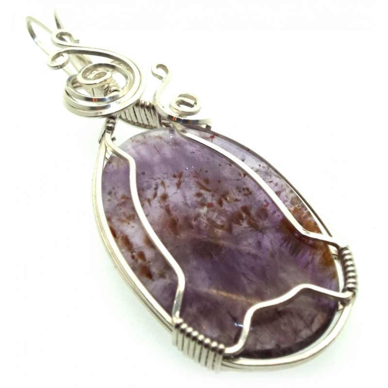 Super 7 Gemstone Sterling Silver Wire Wrapped Pendant 15