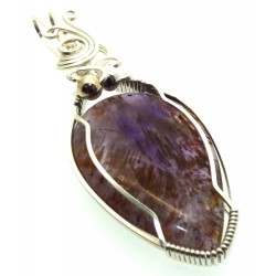 Super 7 Gemstone Sterling Silver Wire Wrapped Pendant 16