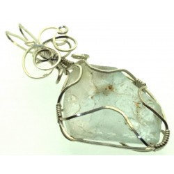 Blue Topaz Silver Filled Wire Wrapped Pendant 12