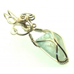 Blue Topaz Silver Filled Wire Wrapped Pendant 13