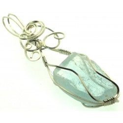 Blue Topaz Silver Filled Wire Wrapped Pendant 14