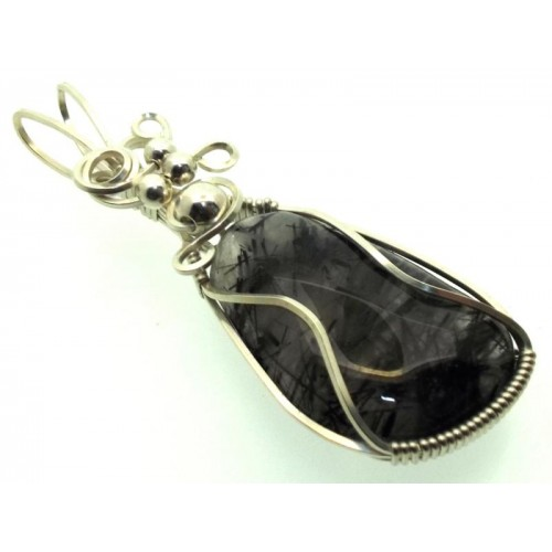 Tourmalated Quartz Sterling Silver Wire Wrapped Pendant 01