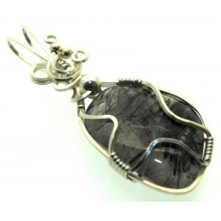Tourmalated Quartz Sterling Silver Wire Wrapped Pendant 02