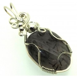 Tourmalated Quartz Sterling Silver Wire Wrapped Pendant 04