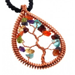 Chakra Gemstone Copper Tree of Life Pendant 10