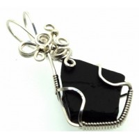 Whitby Jet Sterling Silver Wire Wrapped Pendant 04